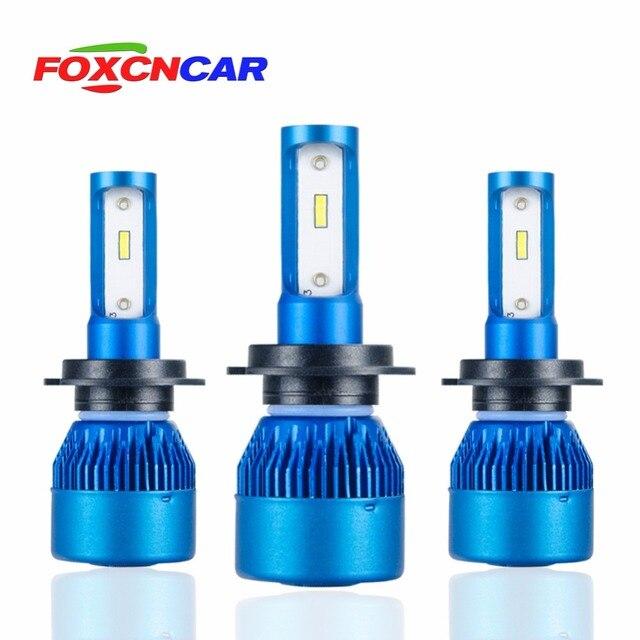 Foxcncar H7 H4 H11 H1 LED Car Headlights Bulb mini Lamp 9005 9006 COB CSP Chip 12V 10000lm 72W 6500K 24V Auto moto truks IP67