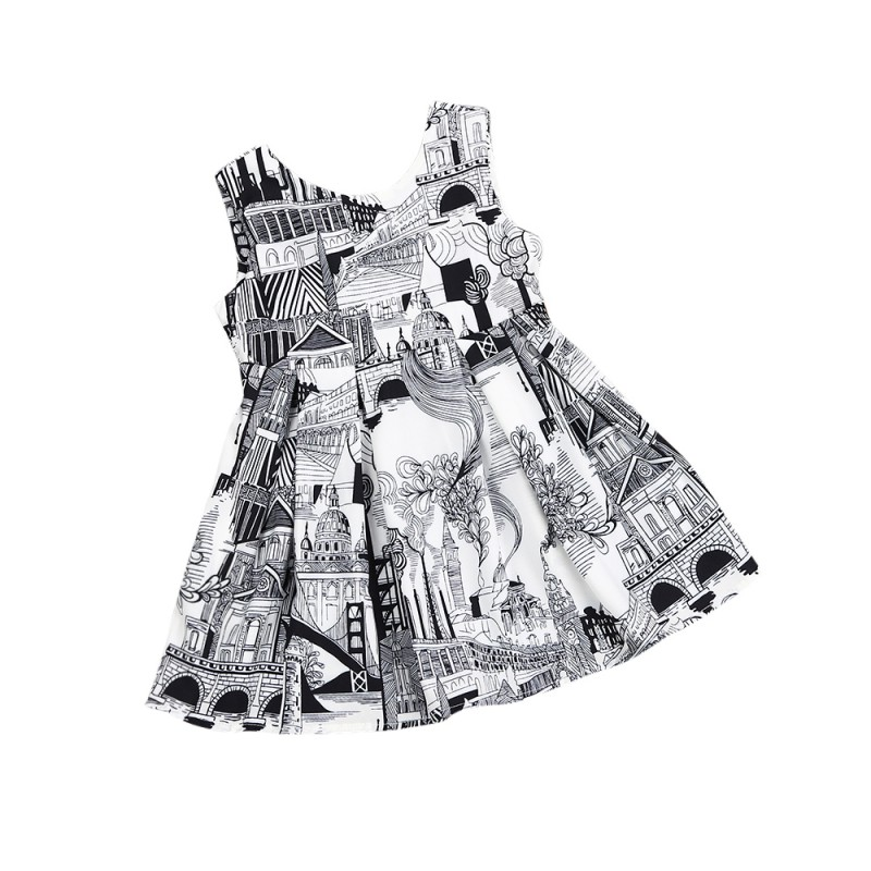 Kids Girl Cartoon Dark Gray White Printed Leaking Dresses Girls Causal Sleeveless Dresses New