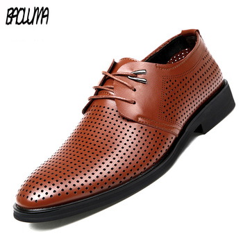 Men's Dress Shoes Spring Summer Men Casual Shoes Lace-up Male Wedding Dress Shoes Leather Handmade Moccasins Man Driving Shoes