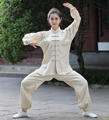 Plus Size XXXL Beige Chinese Female Tai Chi Suit Clothing Women's Satin Kung Fu Uniform Long Sleeve Wu Shu Sets 2526-2