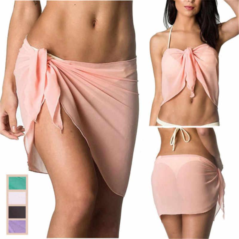 Spiaggia delle donne di Estate Gonne Delle Signore del Bikini Cover Up Costumi Da Bagno Arco Nodo Sarong Wrap Gonne Frilly di Alta Split Scialle 6 Colori one Size