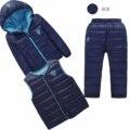 2016 Trajes de Esquí Chico Niñas Abajo Establece Jacket + Pants, Invierno Invierno de Los cabritos Trajes Que Arropan el Juego, los niños de la marca de moda Traje de 0-4 Años