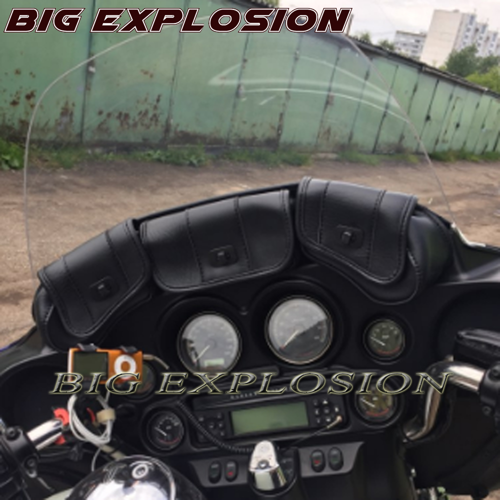 Black windshield saddle bag 3 pocket case for Harley Davidson tour 1996 2013