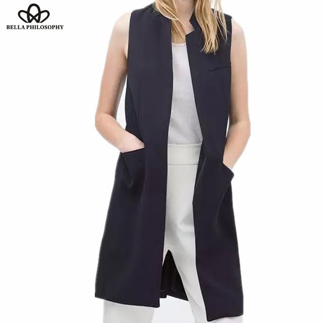 Novo estilo de primavera/verão das mulheres gola longo terno colete preto branco azul escuro com dois bolsos