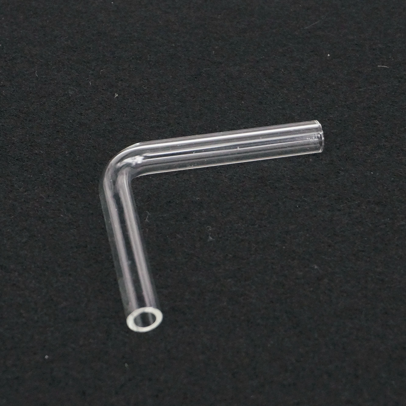 90 Degree Elbow Laboratory Glass Gas Guide Tube Adapter Glassware Diameter 7mm Length 44mm