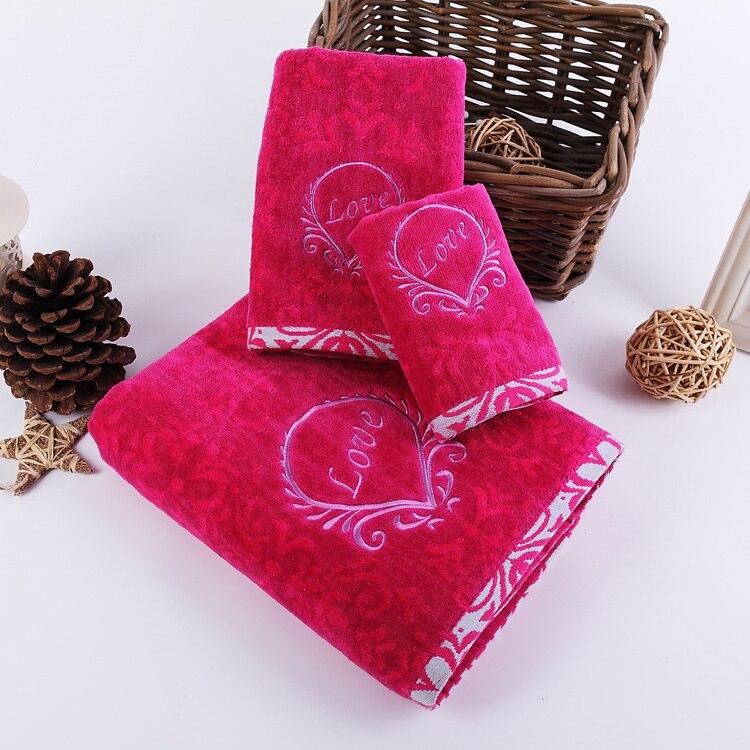 Bath Towels Lots: 3pcs/lot Towel Set Love Pattern Embroidery 100% Cotton