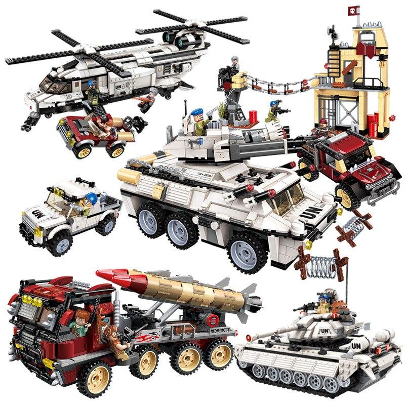 Süß GehäRtet New Military Legoing Ziegel Bildung Bausteine Stapeln Spielzeug Krieg Tank Panzer Chinook Hubschrauber Auto Fahrzeug Waffe Un Kraft