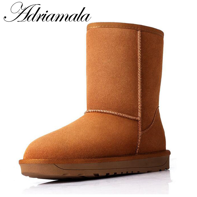 Adriamala Women Snow Boots With Round Toe Flat Shoes Winter 2016 Cow Split Female Warm Genuine Leather Ankle Boots For Women ladies casual lace up flat ankle boots fashion round toe plain cow leather boots for women female genuine leather autumn boots