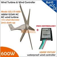 Hot Sale!!! 12V/24V AC 1.7m wheel diameter 5 blades 600W Wind Turbine Generator with free 600W Controller Wind Generator Kit
