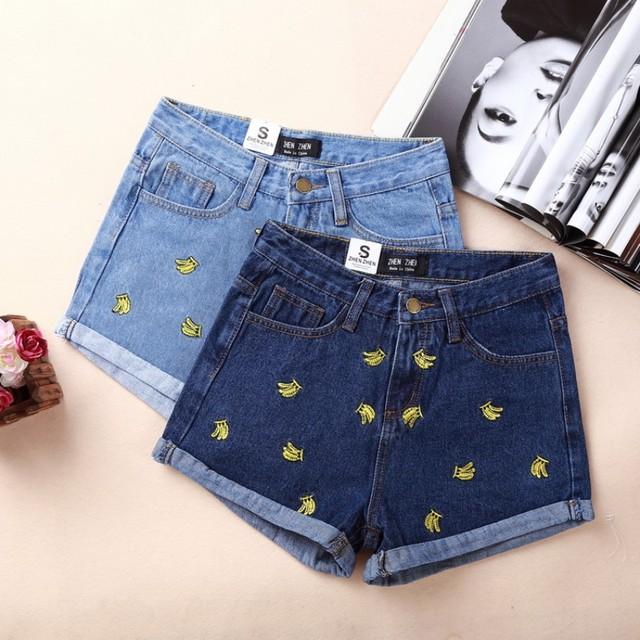 2016 nova verão moda de banana bordado denim shorts curling jeans moda feminina nova fêmea fêmea calças curtas
