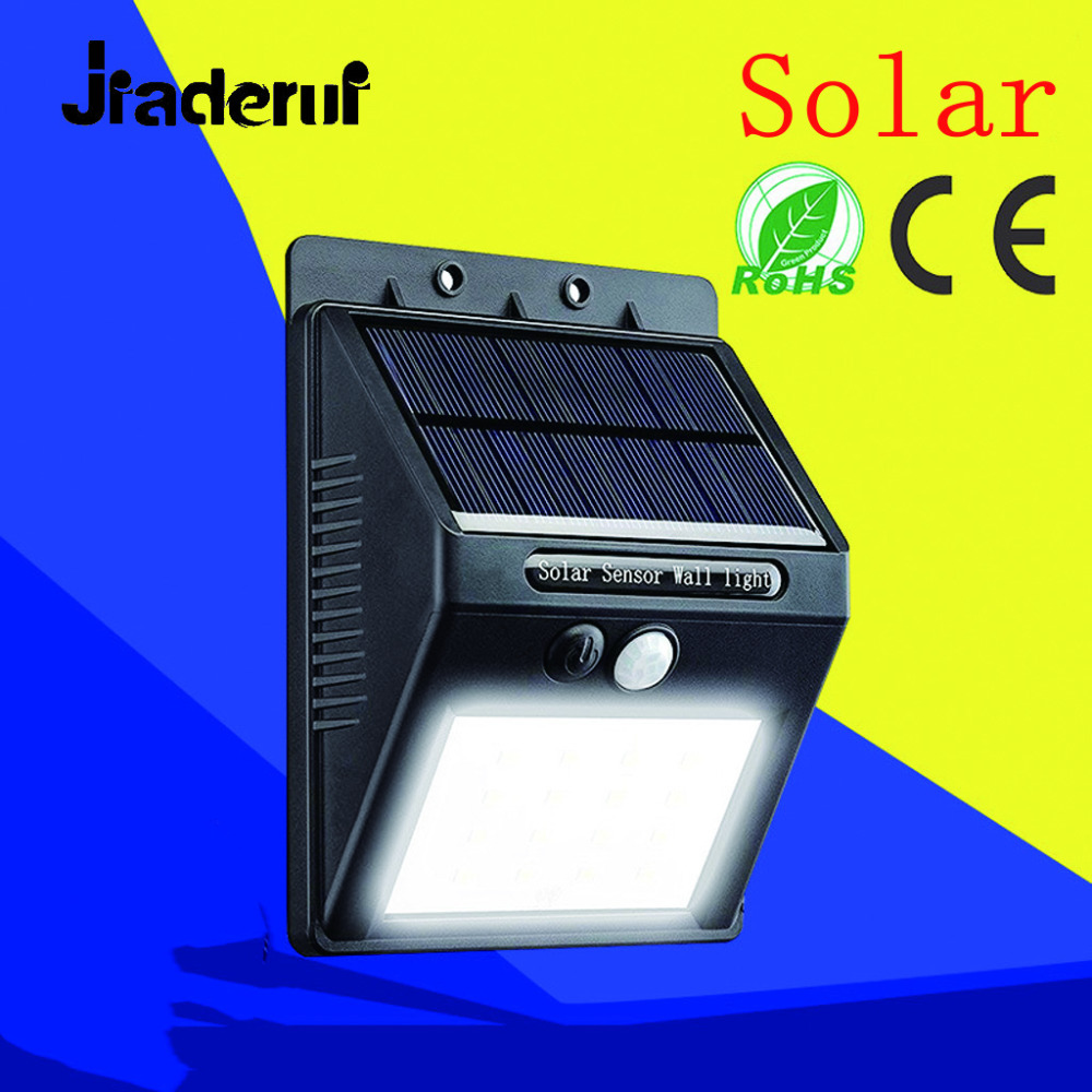 Jiaderui LED 16 LEDs Waterproof Solar Lamp Garden Wall Light Outdoor Lighting PIR Motion Sensor Street Security Lighting Lamps