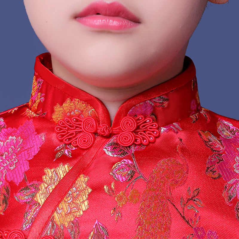 子供ベビーチャイナ冬ガール現代中国新年ドレスチノ Tradicional 袍レッド東洋首輪パニック購入する