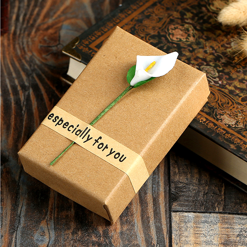 Fashion High Quality Retro Jewelry Box Storage Case Flower Bracelet Ring Kraft Paper Letter Jewelery Accessories Packaging