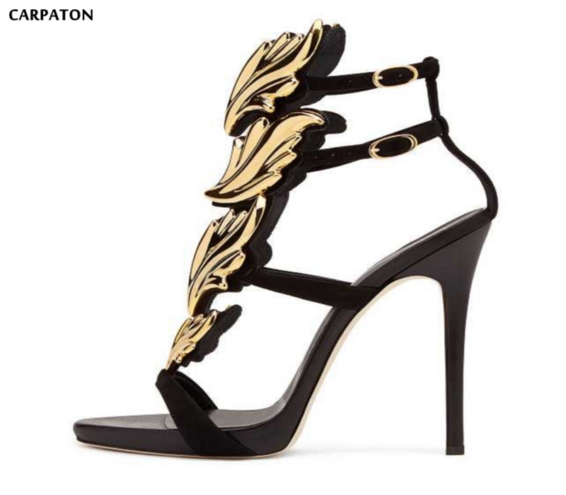 Carpaton Newest Platform Thin Heels Sandal for Woman Sexy Open Toe Gold Wings Decorations Gladiator Sandal Buckle Strap Shoes 2017 newest summer black brown leather sandal for woman sexy open toe flat crystal sandal sequins bead t strap buckle shoes