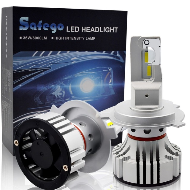 Safego 36W H4 Hi/Lo H7 H8 H9 H11 Car LED Headlight Kit Bulbs 9005 9006 4 Super Bright LED Chips  Auto Bulb  White 6000K