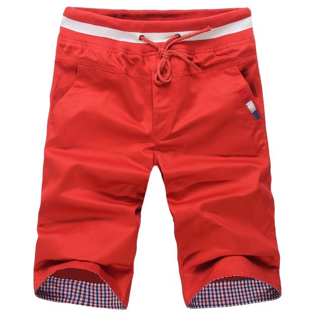 Men Casual Shorts New Summer Men Elastic Waist Shorts Knee Length Male Cotton Casual Short Pants 2