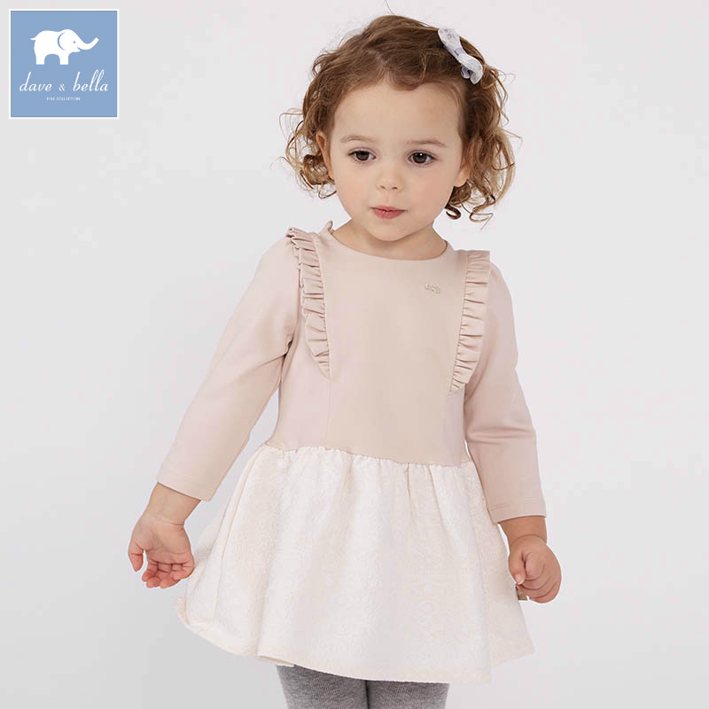 DB7622 dave bella spring infant baby girl's fashion apricot dress kids birthday party dress toddler children clothes db4079 dave bella spring infant baby girl s fashion pink dress kids birthday wedding party dress toddler children clothes