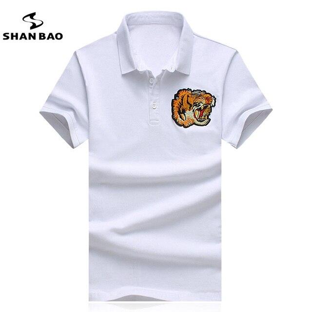 SHANBAO Men Embroidery POLO Shirt Slim Business Casual Black White POLO Shirt High Quality Large Size M ~ 5XL POLO Shirt 17048