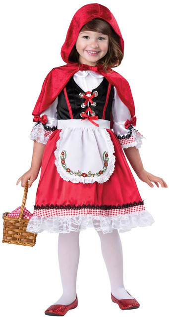 Children Role Play Dress Little Red Riding Hood Costumes Patchwork Red Dress+Cloak+Apron Festive Party Dresses Kids Cosplay