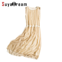 Women Silk Long Dress Luxury 100 Natural Silk Solid Champange Pleated Dress Sleeveless Cheer Silk Chiffon