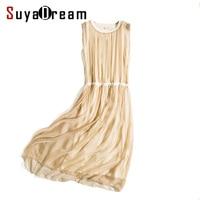 Women Silk Long Dress Luxury 100 Natural Silk Solid Champange Pleated Dress Sleeveless Cheer Silk Chiffon