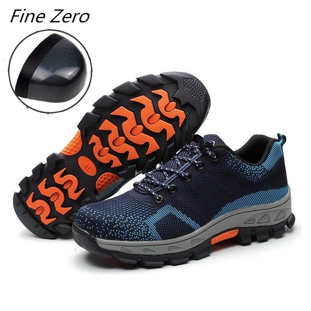 Spring Summer Work Shoes Men Fahion Mesh Breathable Steel Toe Casual Boots Labor Insurance Mens Safety Shoes Construction Boots