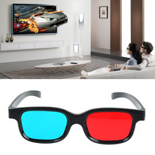 Red Blue Black Frame Universal 3D Plastic Glasses For Dimensional Anaglyph TV Movie DVD Game(China)