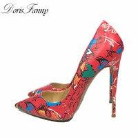 DorisFanny Sexy tacchi alti 2018 Nuovo arrivo Red Graffiti Colorati Donne Dello Stiletto Pompe scarpe da sposa