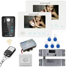 Buy Mountainone 7″ RFID Password Video Door Phone Intercom System Doorbell Camera 1000TVL 2 Monitor + Electric Drop Bolt Lock