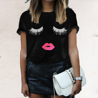 Women S Short Sleeve Summer Printed Eyelash Lipstick Mouth Tops Loose T Shirts Fashion CLOTHES Plus