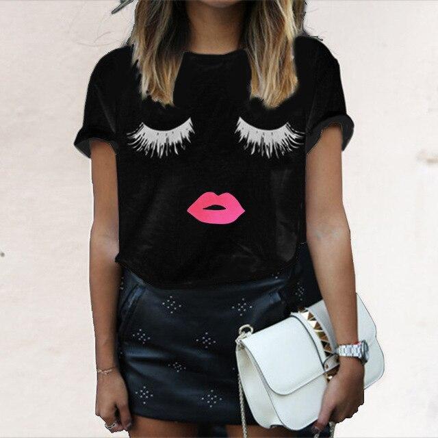 6636d09778986 Las mujeres de manga corta de verano impreso pestañas Pintalabios boca Tops  suelta Camisetas moda ropa