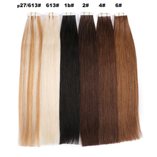 Human-Hair-Extensions Adhensive-Hair Tape-In Natural-Remy BHF Straight 20pcs Seamless