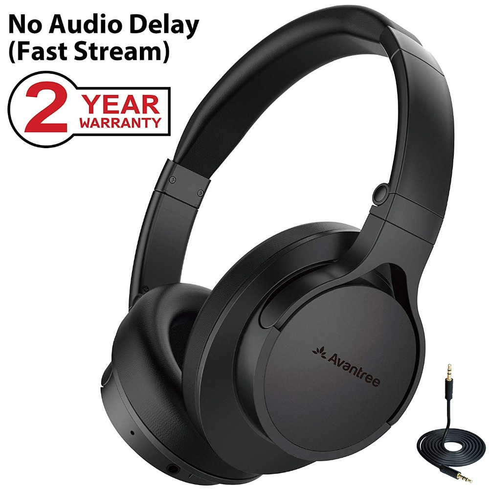 Avantree Super-Light Bluetooth Over Ear Headphones with Mic, Wireless/ Wired Stereo HI-FI Headphones, FAST STREAM Low Latency,