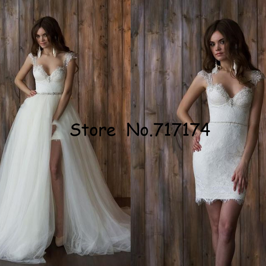 Two Pieces Sweetheart A line Wedding Dresses with Detachable Train Open Back Cap Sleeves Lace Beaded