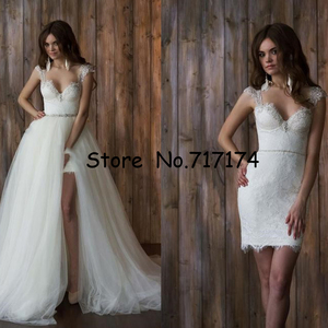 Image 1 - Two Pieces Sweetheart A line Wedding Dresses with Detachable Train Open Back Cap Sleeves Lace Beaded Bridal Gowns Robe De Mariee
