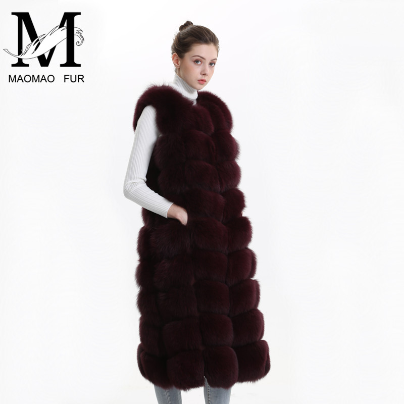 Супер длинный меховой жилет Зимний женский роскошный Лисий мех жилет Пушистый Тонкий женский натуральный мех жилет