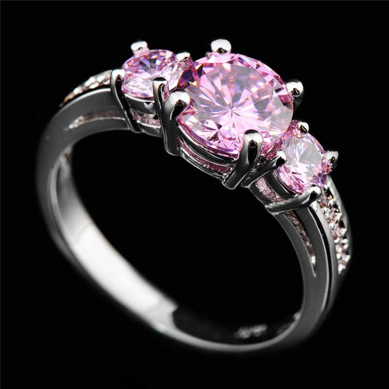 Милые женские Девушки Розовый Обручение кольцо 925 камнем для родившихся в Jewelry Винтаж вечерние свадебные кольца для Для женщин День матери подарки