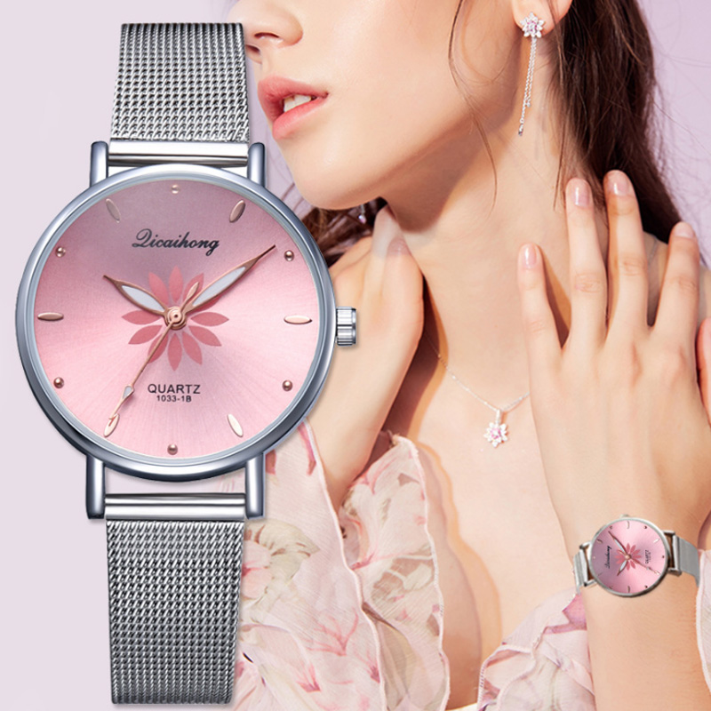 New Fashion Flower Women Watches Silver Mesh Band Quartz Analog Pink Bracelet Wrist Watch Ladies Dress Wristwatch montre femme