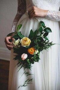 Image 4 - Iron gold metal ring draagbare guirlande kunstmatige bloem rack Kerst krans bruiloft bruid handgemaakte bloemen dream catcher hoepel