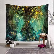 Magical Wishing Trees 3D Print Tapestry Wall Hanging Psychedelic Decorative Bohemian Hippie Wall Carpet Art Bed Sheet Sofa Throw(China)