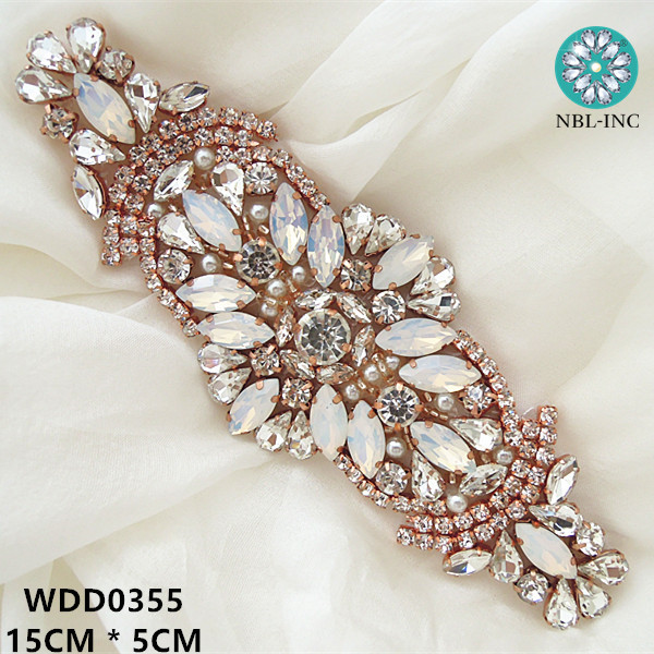 30pcs Wholesale rose gold silver beaded sewing crystal rhinestone applique for wedding dresses DIY iron