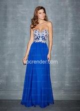 2016Hot Charming Sexy Royal Blue Chiffon Elegante A-linie Nach Maß Designer Ärmellose Pailletten Bodenlangen Prom Abendkleid
