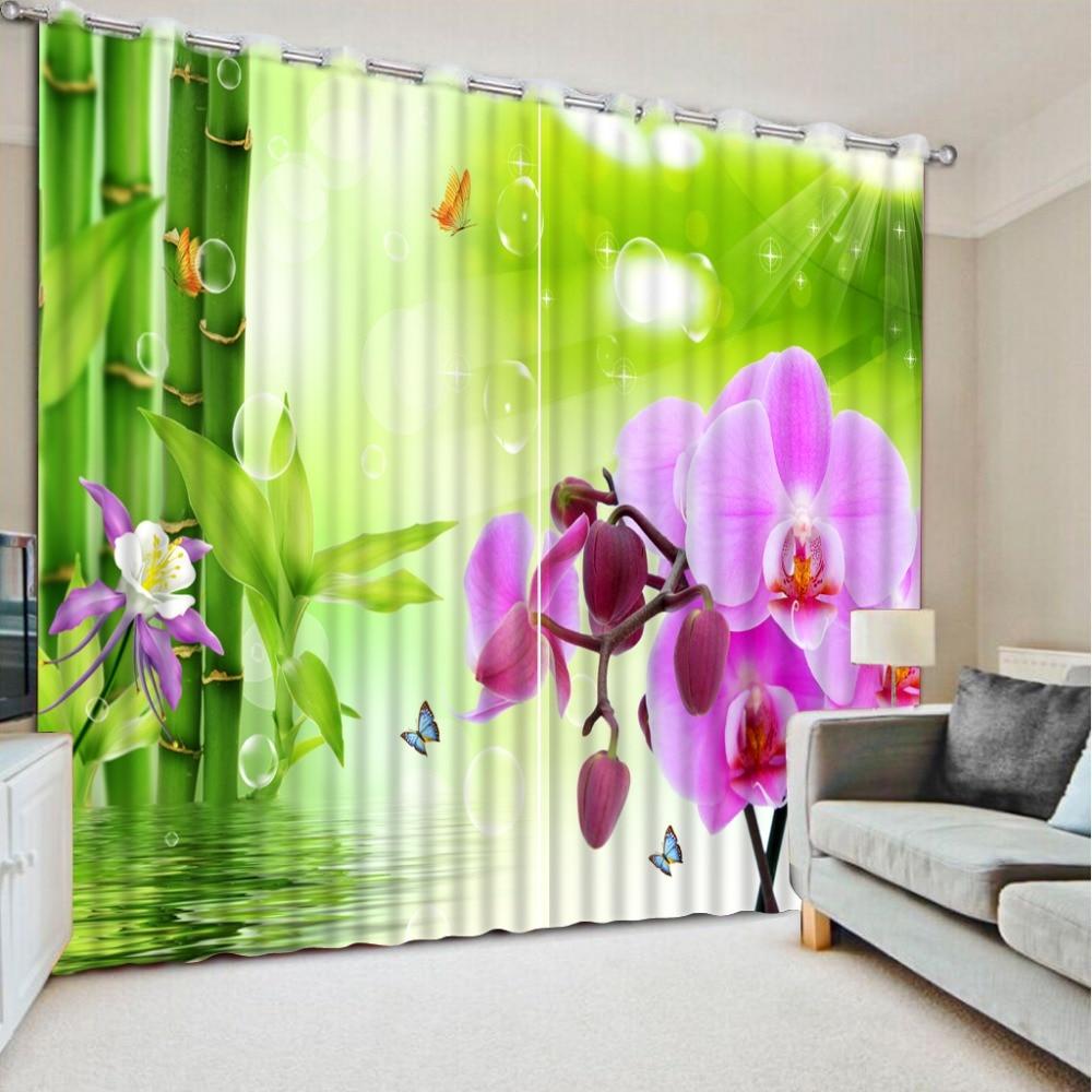 Rideaux 3d luxe européen moderne rideaux pour salon bambou 3d magnolia fleur décor à la maison 3d curtiens