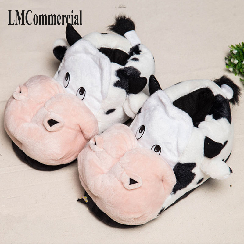 new winter men women home slippers cotton cute cartoon cow shoes indoor slippers winter Custom home