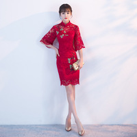 Traditional Chinese Dress Qipao Red Ladies Evening Dresses Vintage Cheongsam Women Bride Short Lace Modern Cheongsam S 3XL