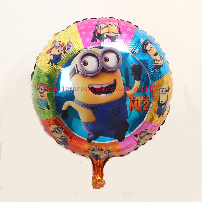 Lucky 1PCS 18 Inch Round Minions Balloons Birthday Party