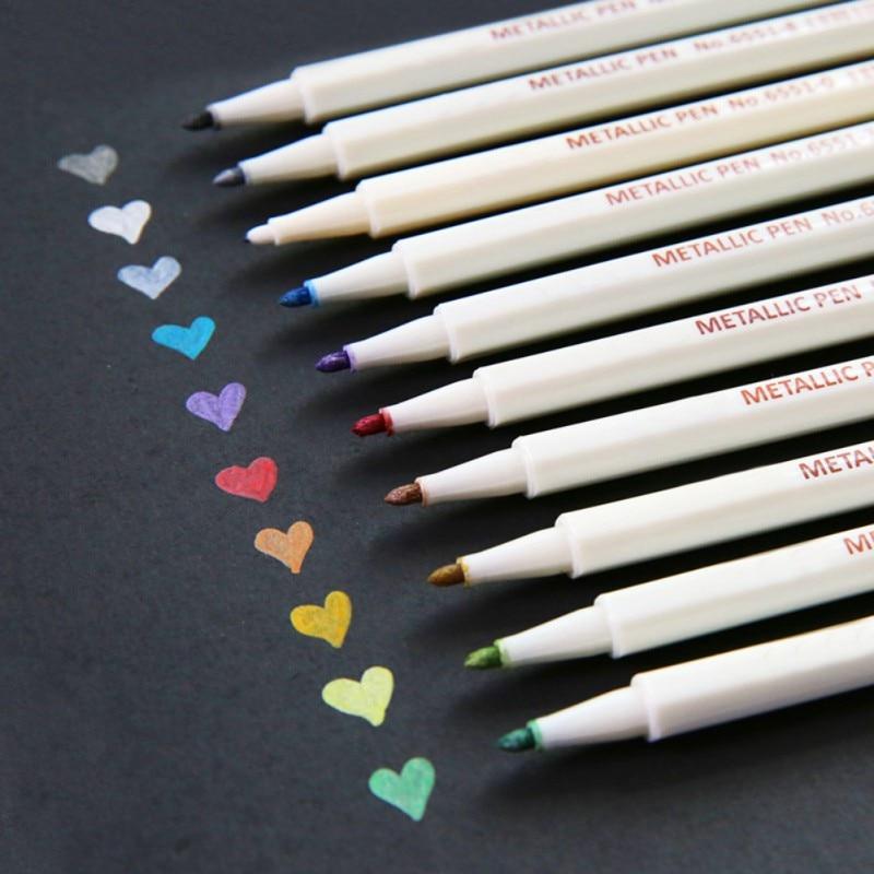 10 Colors Metallic Markers Pens Set For Scrapbooking DIY Photo Album Card Making Calligraphy Doodling Liquid-Ink Round Tip