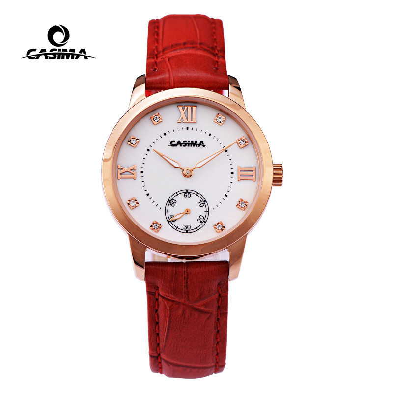 CASIMA Red Fashion Quartz Wrist Watch Women Bracelet Watches Stainless Steel Brand Leather Waterproof 2606 chic rhinestone african plate shape pendant necklace and earrings for women