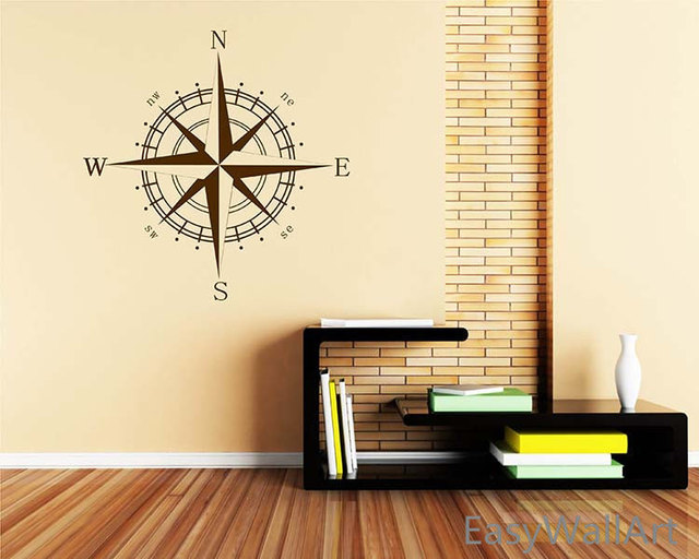 Nautical Compass Vinyl Decal, Beach Nursery decor wall art ,Compass ...