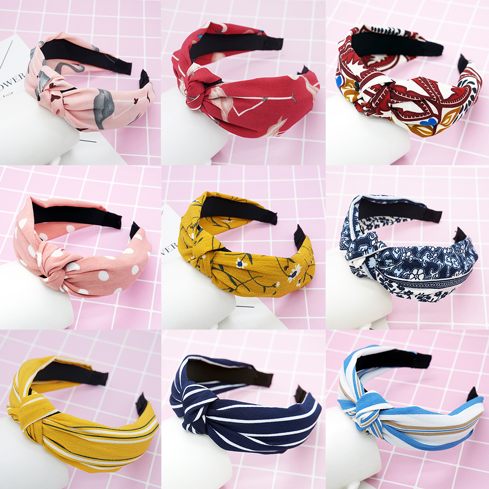 Bohemian Vintage Style Hairbands Top Knot Print Turban Female Elastic Headband Hair Accessories for Women Girls bandana headwear